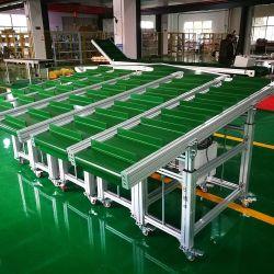 工場出荷時のカスタム工業デザインモジュール型 PVC/PU グリーンゴムベルトの移動 曲線トラックローディングベルトコンベア