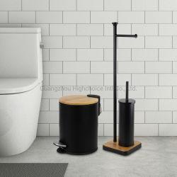 Nouvelle arrivée Salle de bains WC brosse en acier inoxydable noir avec support