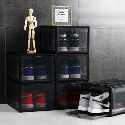 高品質の明確なプラスチックスタック可能記憶の白い靴箱
