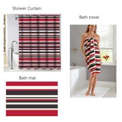 3pcs Duschsets, Serene Streifen Muster Duschvorhang, rutschfeste Badezimmer Teppiche, Badetuch, Rot