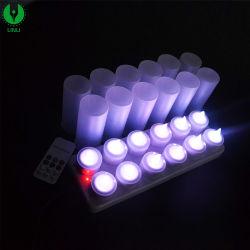12PCS cada conjunto pilha recarregável Tealight LED com controle remoto para a festa de aniversário
