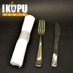 Одноразовые пластиковые Набор столовых приборов из серебра с блестящими