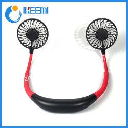 3 vitesses réglables lumière LED Mini-USB Sports Fan cou pendaison Style rechargeable double ventilateurs de refroidissement