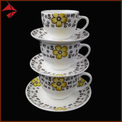 Latte용 세라믹 티 컵 접시 커피 컵 세트