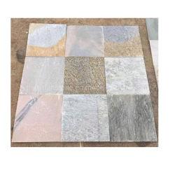 División Natural rosa/blanco/verde/amarillo/mosaico de cuarcita gris para la decoración exterior