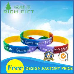 À la mode sain 100% personnalisé segmenté Bracelets en Silicone/ Bracelets avec logo couleur