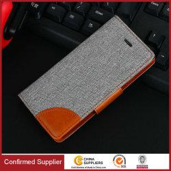 Couverture en cuir de téléphone mobile de chiquenaude de caisse d'unité centrale de Jean de pochette de type de mode