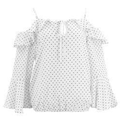 Damen übersteigt spätester Konstruktionsbüro-Abnützung-weißer langer Hülsen-Blusen-Sprung-neuer Entwurfs-normalen Polka PUNKT Druck auf Bluse