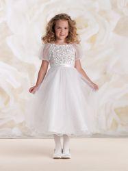 В наличии на складе цветок девочек платье для свадьбы короткие втулки Organza платье 10 лет Tea-Length шаровой опоры рычага подвески