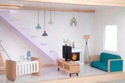 Modelos de juguete de madera muebles hechos a mano casa de muñecas para niños