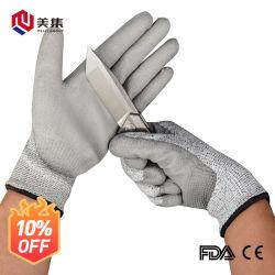 Seamless Tecidos revestidos de nitrilo PU resistentes ao corte lado luvas de segurança de trabalho da indústria