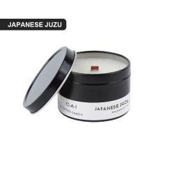 현대적인 캔들 장식으로 블랙 알루미늄 여행 명상 화이트 소야 양초 장미 아로마 향의 향긋한 양초