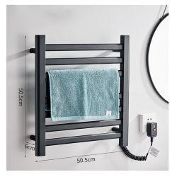 En la pared Toallas Secador Rack para el cuarto de baño Toalla de Acero Inoxidable Negro eléctrica radiador toallero eléctrico