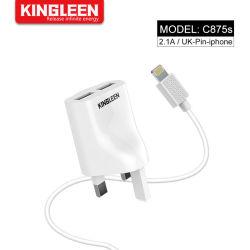 イギリスのプラグ二重USB 5V/2.1AのiPhone携帯用旅行充電器