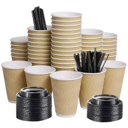 12oz Isolierkräuselung-Wand-Kaffeetasse-Papiercup mit Kappen-kundenspezifischen Wegwerfcup