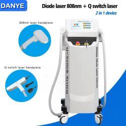 Hete Verkopende 2 in 1 Apparaat 808nm de Verwijdering van het Haar van de Diode/van de Laser Diodo, de Q Geschakelde Machine van de Verwijdering van de Tatoegering van de Laser van Nd YAG voor Verkoop