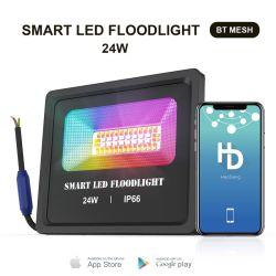 24W RGBの洪水ライトWiFi制御IP66は屋外LEDのフラッドライトプロジェクター反射形電球のスポットライト党ネオンサインライトを防水する