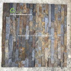 Rústica de piedra natural cultivada de pizarra de pared exterior de tejas, baldosas que cubren la pared de pizarra oxidada, revestimiento de azulejos de Decoración de pared de pizarra
