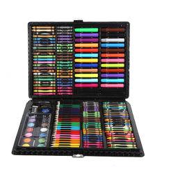 Boîte cadeau aquarelle art Pen 168 morceaux Paintbrush Set de papeterie de peinture Enfants ensemble cadeau de plumes couleur