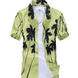 Gedruckte Entwurfs-lustige Baumwollmann-Abnützung-hawaiische Strand-Hemd-Kurzschluss-Hülse 100%