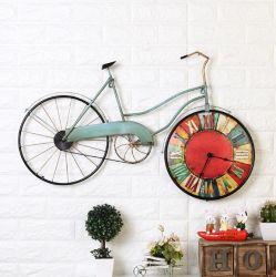 熱い販売のレトロの鉄の自転車の柱時計の創造的なクロックホーム装飾