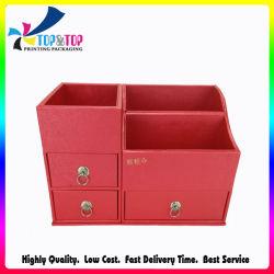 Фантазии настольного органайзера фо кожи красного многофункциональный настольный контейнер для хранения с выдвижной ящик косметические средства ящик для хранения