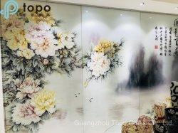 Haute luminosité en verre dépoli de transmittance de la vie privée de la Peinture de fleurs mur (PG-TP002)