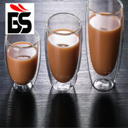 Tazza di caffè di vetro doppia della tazza di tè della tazza di consumo di vino del whisky della birra del tè della cristalleria di Highball per acqua