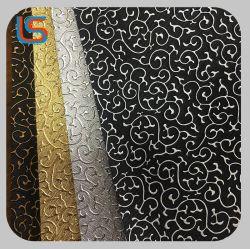 O ouro e prata cor duplo de PVC em relevo decorativa Artificial couro sintético