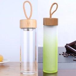 Bottiglia di acqua di vendita calda 2019 di vetro glassato di Infuser 500ml del tè del Amazon con il tè Infuser dell'acciaio inossidabile del contrassegno privato e la corda
