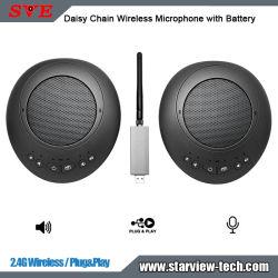 2.4G Wireless Daisy Chain Wireless Microphone (ميكروفون لاسلكي لسلسلة شاشات مترابطة) مع خاصية Speaker Battery Plug&Play (