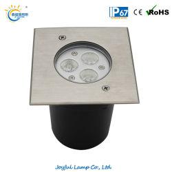 IP67 3W 6W 9W LED 풍경 실외 LED 켜짐 라이트 LED 지하 조명 정원 업 라이트 LED 지상 조명 사각 스테인리스 스틸 전면 덮개 포함
