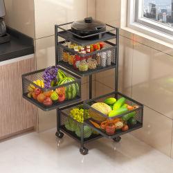 سلة تخزين متعددة الوظائف من المطبخ كلها فاكهة حوامل عربة مع درج غطاء منظمات الصندوق متينة
