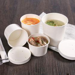 Tazza di zuppa alimentare in carta per takeaway compostabile per alimenti con coperchio
