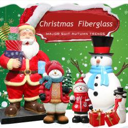 크리스마스 레진 조각품 인생 크기 산타클로스 유리섬유 동상 장식