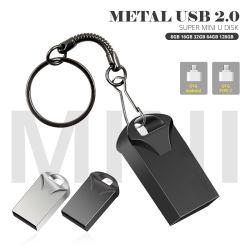 Logotipo personalizado barata a granel Mini pendrive USB de 4GB, 8GB, 16GB, 32GB, 128g Chaveiro de metal USB2.0 Unidade Flash USB