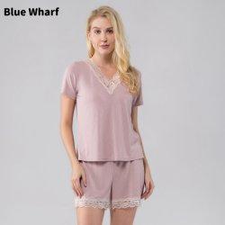 Donna personalizzata Donna Femme corto 2 pizzo coste rosa Elastico estivo morbido traspirante con collo a V, designer di casa Pajamas