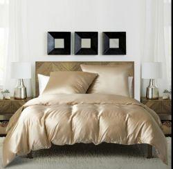 サテンガールズデュベカバーセットソリッドカラーキルトカバーライトピンクベッドセットクイーンサイズ 1 デュベカバー枕カバー 2 枚(ピンク、クイーン)