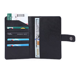 블랙 RFID 홍보 카드 홀더 포 가죽 여행 지갑