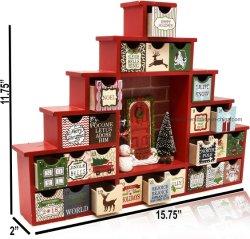 Vacances Diorama de scène 24 tiroirs compte à rebours de Noël Calendrier de l'Avent en bois