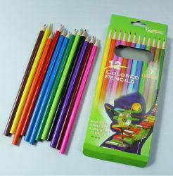 Crayon de couleur en bois pour l'école Stationery Supply