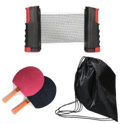 Duurzaam Draagbaar Intrekbaar die Pingpong voor Binnen en OpenluchtSpelen met 2 Rackets 4 Ballen en Intrekbare Rode Zwarte Netto wordt geplaatst