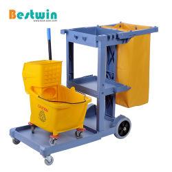 Política comercial Janitorial Carrinho de arrumação de plástico carrinho de limpeza