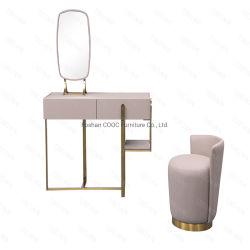 Schlafzimmer Moderne Möbel Rosa Kunstleder Kommode und Ankleidehocker