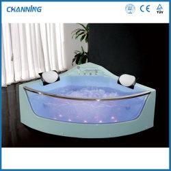 포샨 코너 메시지 욕조 온수 욕조 욕실 자쿠지 월풀 욕조 LED 조명(QT-309)