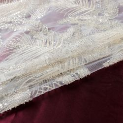 결혼 예복 자수 레이스 직물을%s Sequin를 가진 QC023 백색 구슬