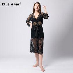 2021 ファッションホットセールセクシーウィメンズトランスペアレントスリープウェアブラックメッシュ レースローブ