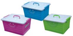 De kleurrijke 30L Plastic Doos van de Opslag van de Totalisator van het Stuk speelgoed van Sundries van de Rechthoek