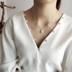 Parte joyas S925 Plata colgantes de Perla barroca Collar chapado en oro 18K encanto Pearl Necklace