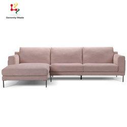 Confortável Tecido lavável L Shape Sofá Rosa Definir Sala Escura Apartment Sofá
